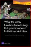 What the Army Needs to Know to Align Its Operational and Institutional Activities, Frank Camm and Cynthia R. Cook, 0833040006