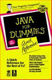 Java for Dummies Quick Reference, Lockwood, Stephen D. and Siddalingaiah, Madhu, 0764501186