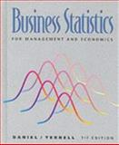 Business Statistics for Management and Economics, Terrell, James C. and Daniel, Wayne W., 0395712319