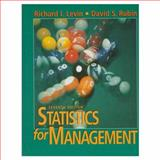 Statistics for Management, Levin, Richard I. and Rubin, David S., 0134762924