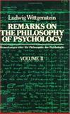 Remarks on the Philosophy of Psychology, Wittgenstein, Ludwig Josef Johann, 0226904342