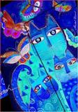 Smythe Sewn Fantastic Felines Blue Cats and Butterflies Unlined, Laurel Burch, 1551564661
