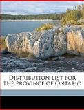 Distribution List for the Province of Ontario, Post Office Dep Canada Post Office Dept, 1149495316
