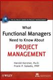 What Functional Managers Need to Know about Project Management, Kerzner, Harold and Saladis, Frank P., 0470525479