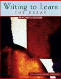 Writing to Learn : The Essay, Spaventa, Louis J., 0072395974