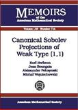 Canonical Sobolev Projections of Weak Type (1,1), Earl R. Berkson and Jean Bourgain, 0821826654