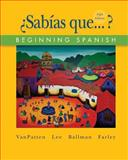 Sabias Que... ? : Beginning Spanish, VanPatten, Bill and Lee, James F., 0073289299