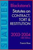 Statutes on Contract, Tort and Restitution 2003-2004, , 0199259542