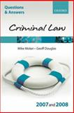 Criminal Law 2007-2008, Douglas, Geoff and Molan, Mike, 0199299544