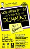 QR/WP 6.1 for Windows for Dummies : Quick Reference, Harvey, Greg, 1568849664
