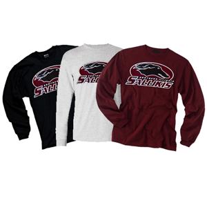 Alternative Image for the JERZEES® SOUTHERN ILLINOIS SALUKIS LONG SLEEVE T-SHIRT - BLACK, GREY OR MAROON product