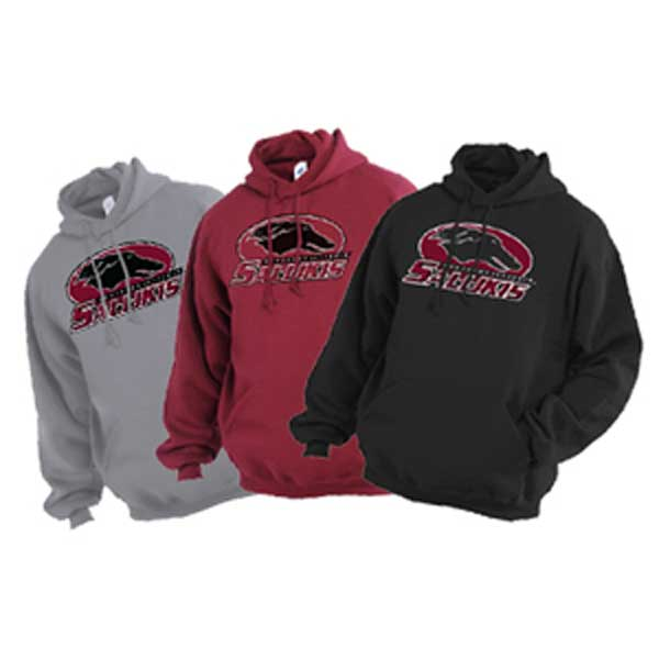 Image for the JERZEES® SOUTHERN ILLINOIS SALUKIS FLEECE HOODIE - BLACK, MAROON AND GREY product