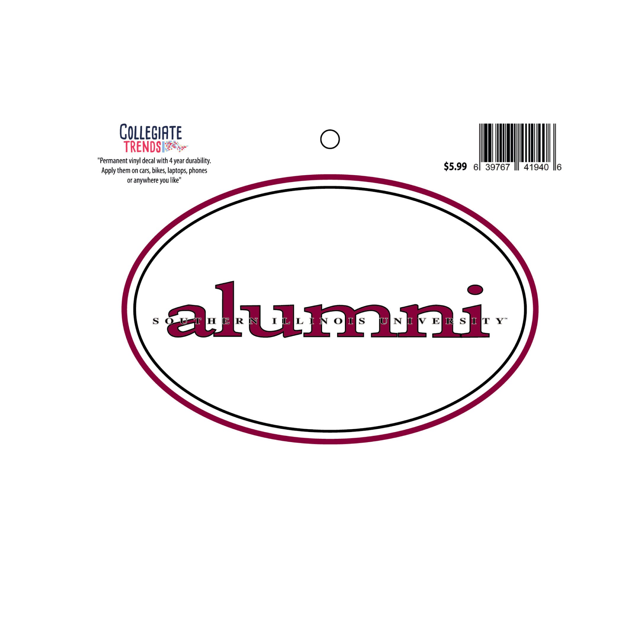 Image for the CT® SOUTHERN ILLINOIS UNIVERSITY OVAL ALUMNI DECAL product