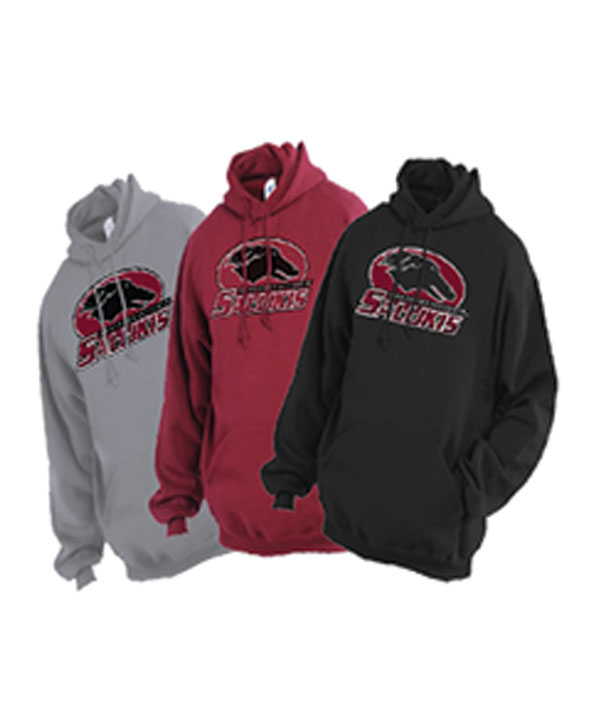 Alternative Image for the JERZEES® SOUTHERN ILLINOIS SALUKIS FLEECE HOODIE - BLACK, MAROON AND GREY product