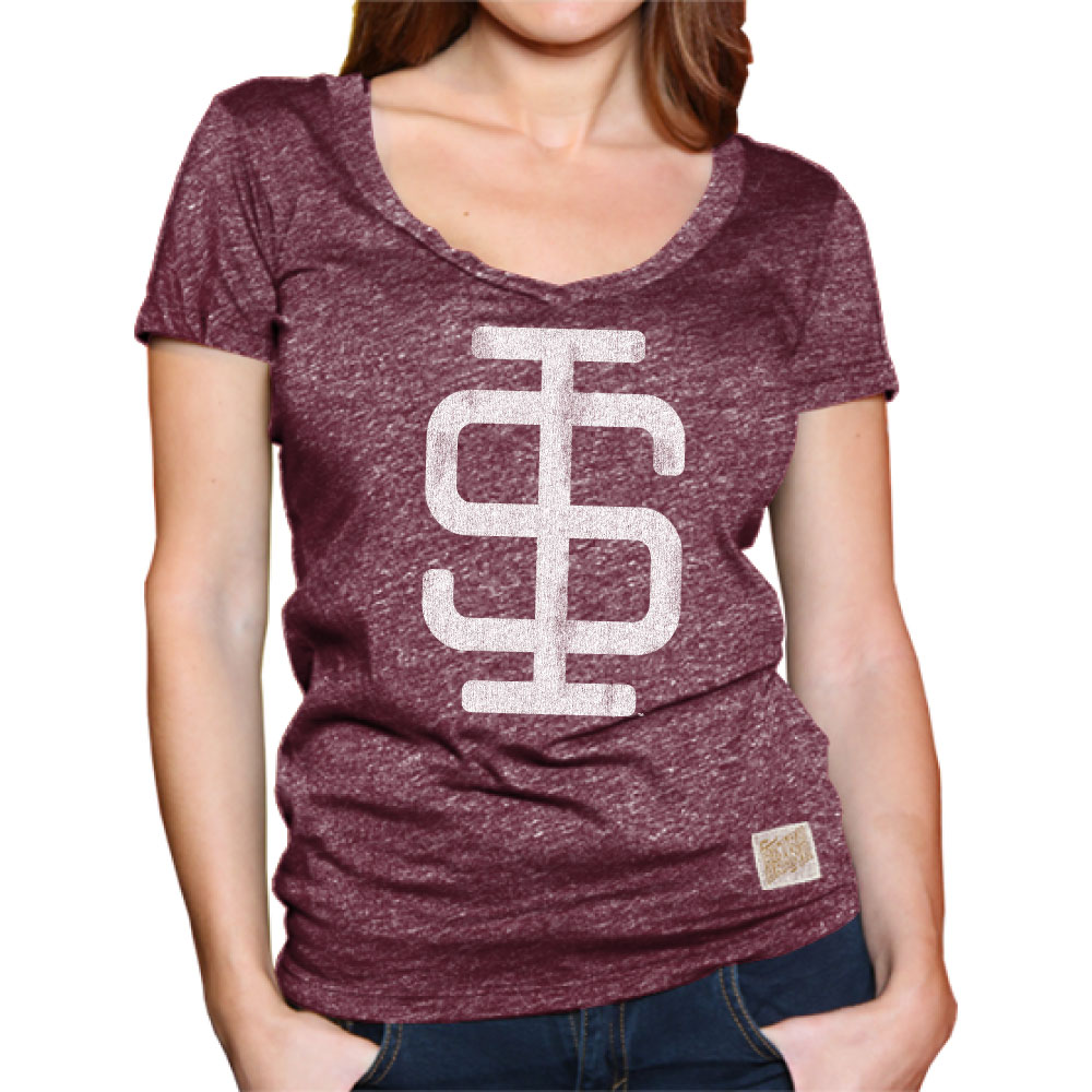 Image for the RETRO BRAND® LADIES LEGACY SI V-NECK LEGACY BLACK OR MAROON T-SHIRT product