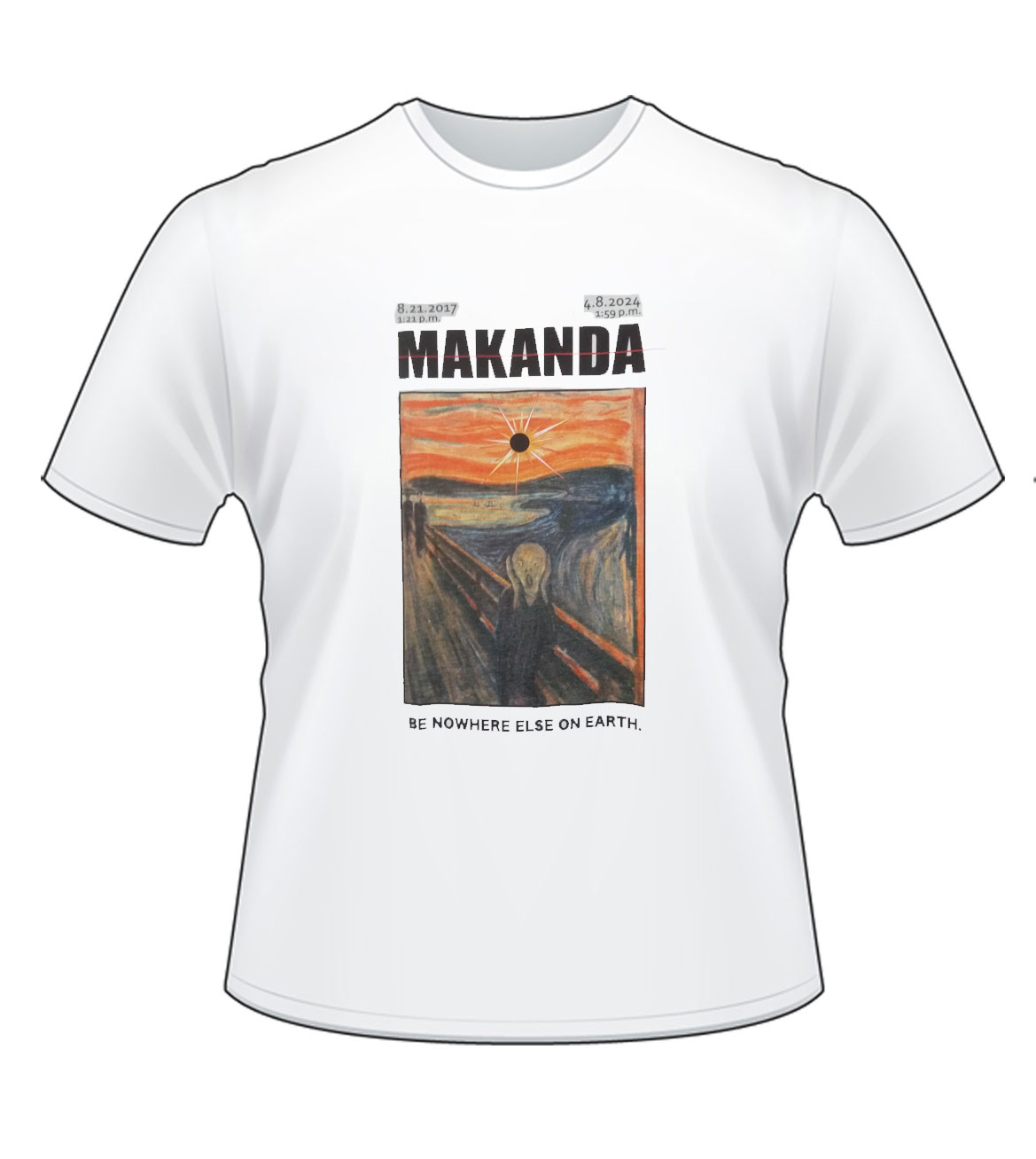 "Image for the 710 BRANDED MAKANDA ""SCREAM"" TOTAL ECLIPSE WHITE SHORT SLEEVE T-SHIRT product"