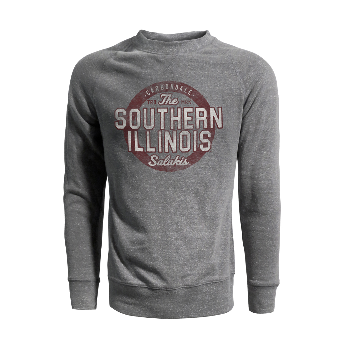 Image for the J AMERICA® SOUTHERN ILLINOIS SALUKIS VINTAGE TRI-BLEND FLEECE CREW product