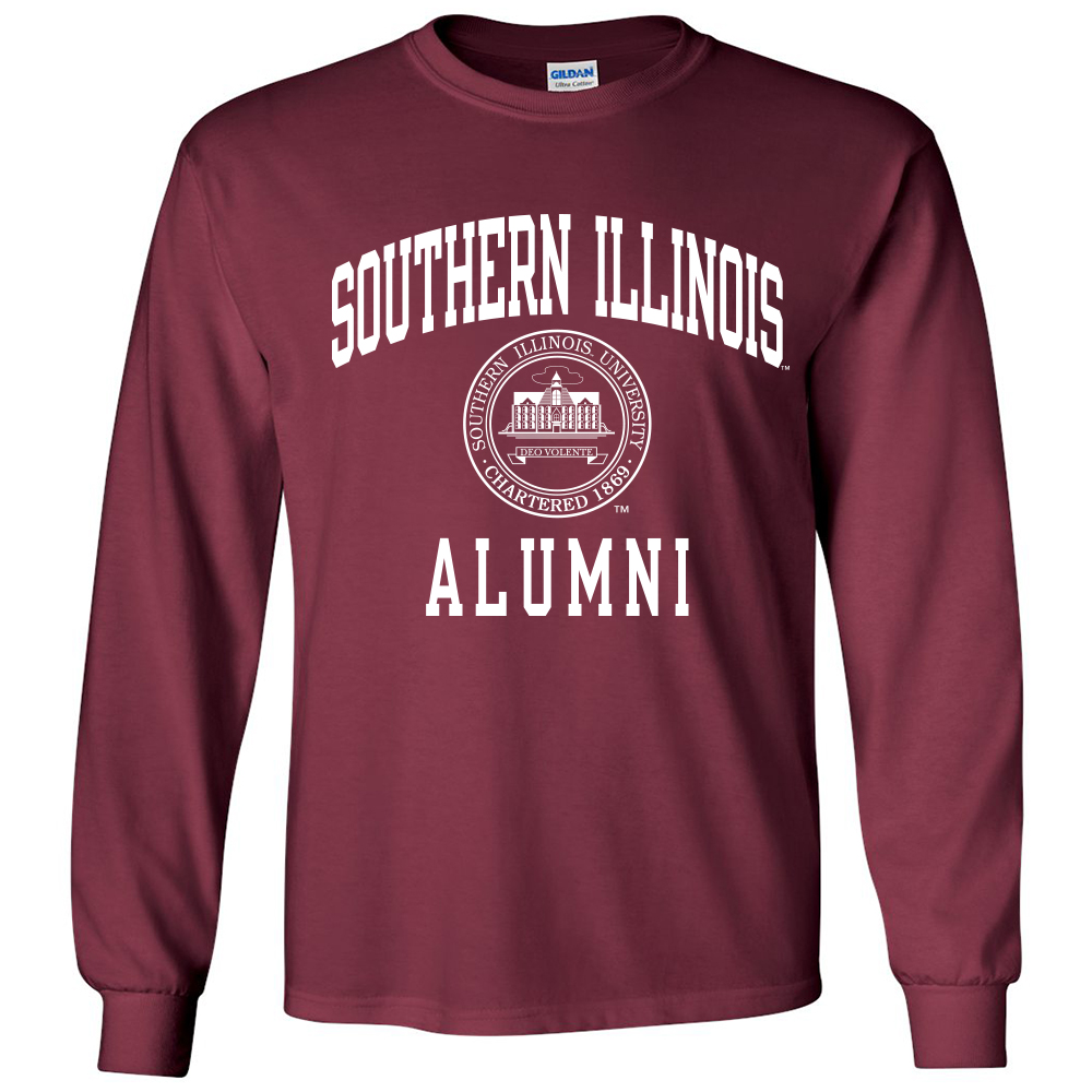 Image for the PROMO® SOUTHERN ILLINOIS ALUMNI SEAL LONG SLEEVE MAROON T product
