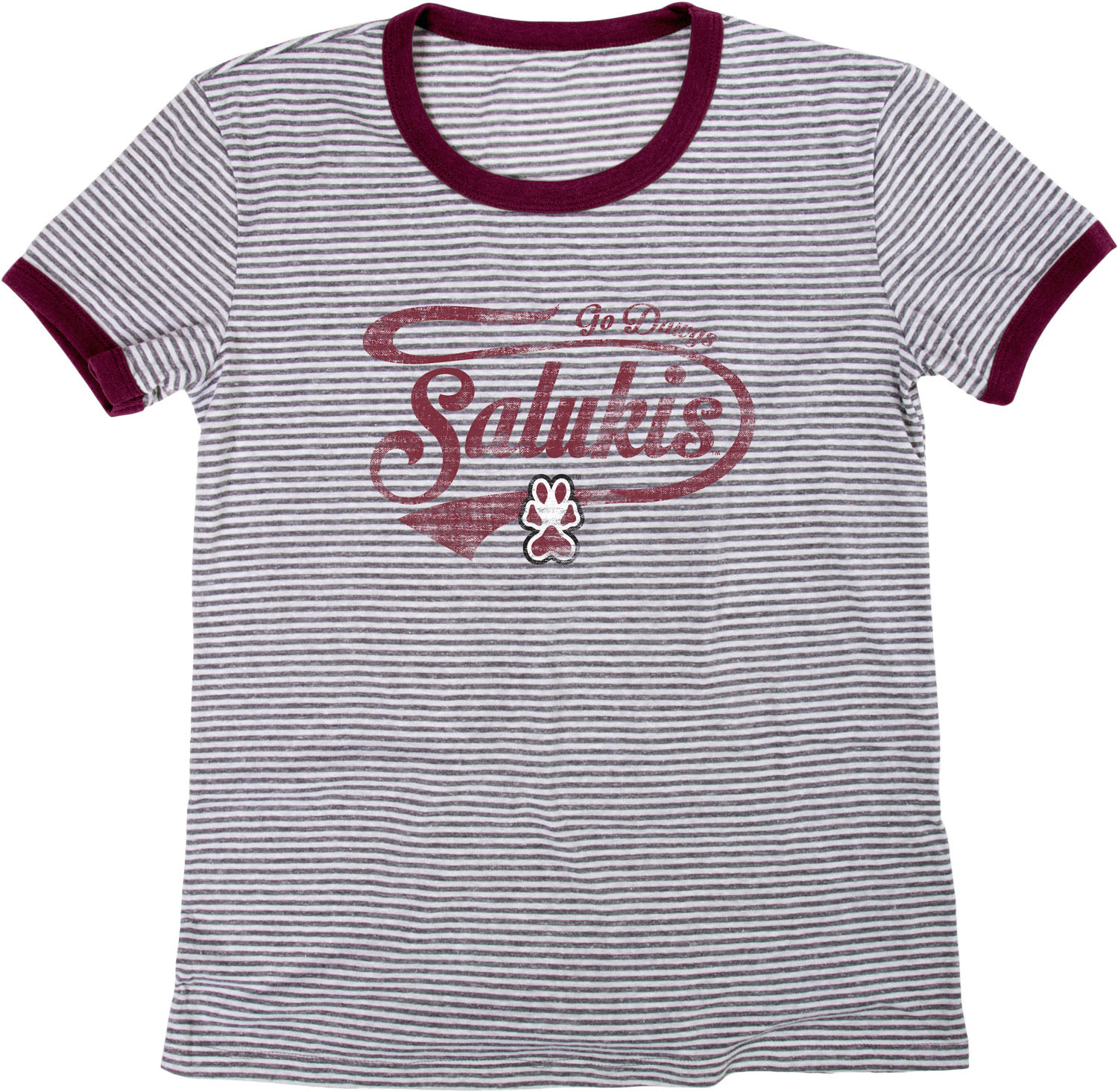 Image for the BLUE 84® SALUKIS PAW PRINT LADIES TRI BLEND RETRO STRIPE RINGER product