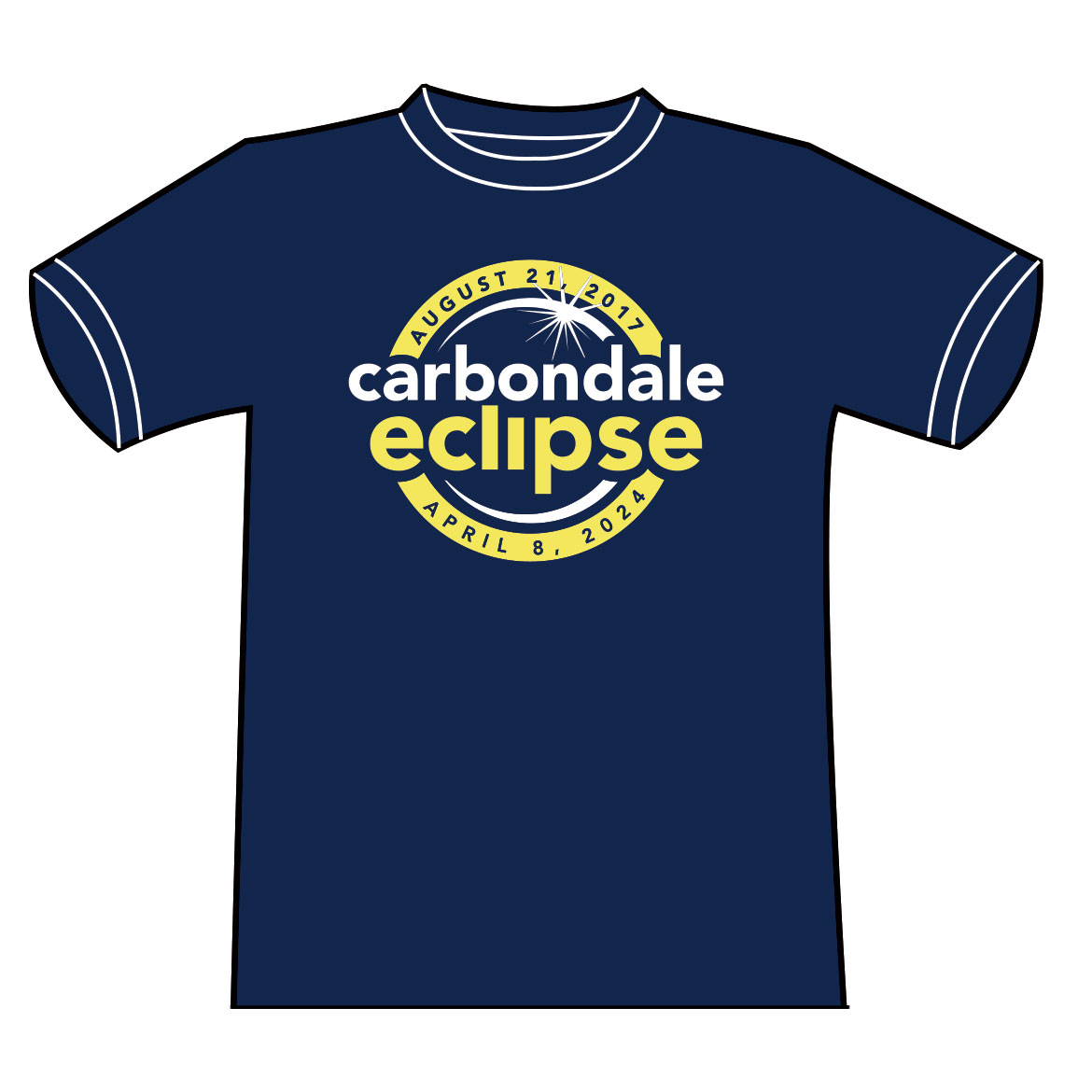 Image for the CARBONDALE ECLIPSE CROSSROADS  WITH MAP ON BACK - NAVY T-SHIRT product