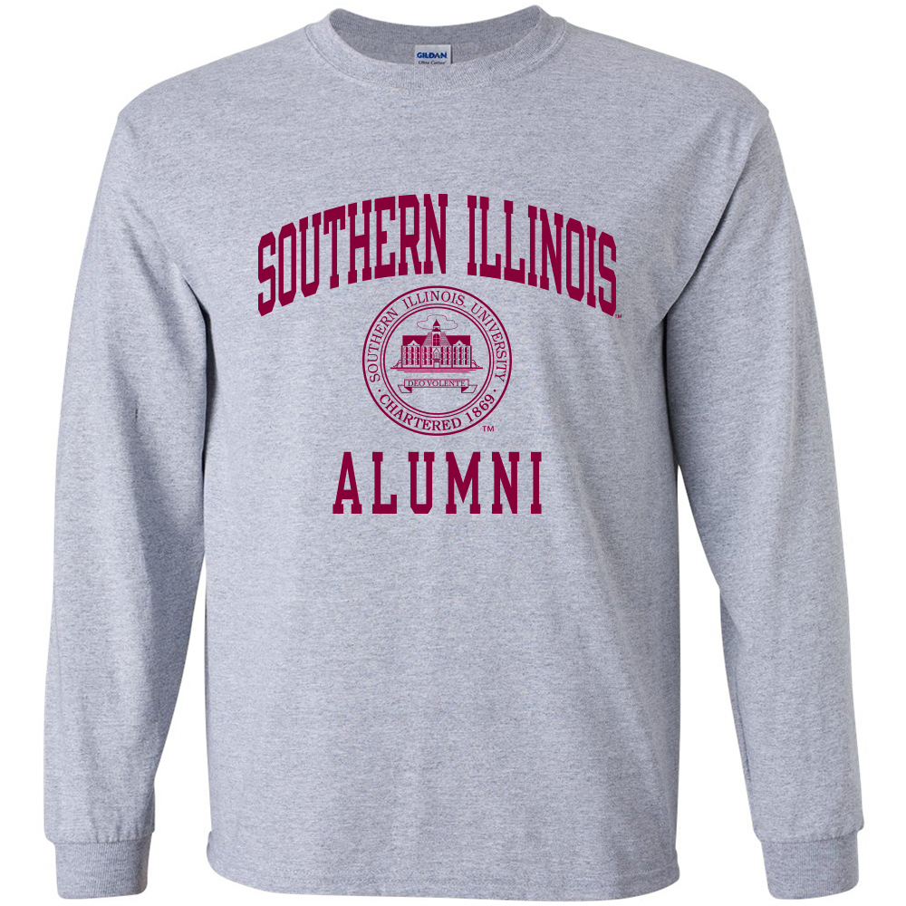 Image for the PROMO® SOUTHERN ILLINOIS ALUMNI SEAL GREY LONG SLEEVE T-SHIRT product