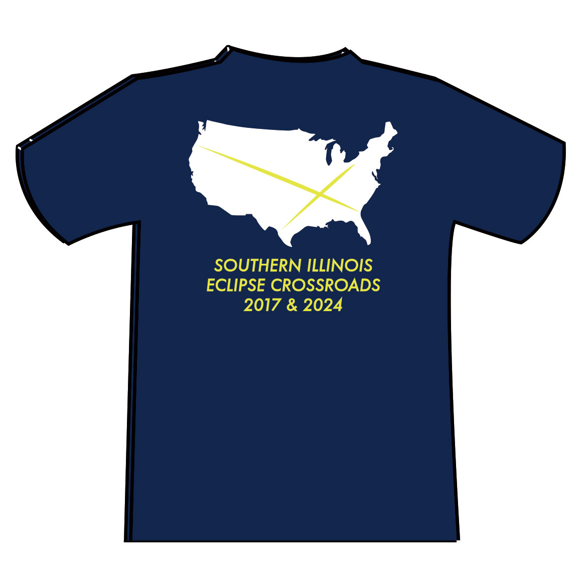 Alternative Image for the CARBONDALE ECLIPSE CROSSROADS  WITH MAP ON BACK - NAVY T-SHIRT product