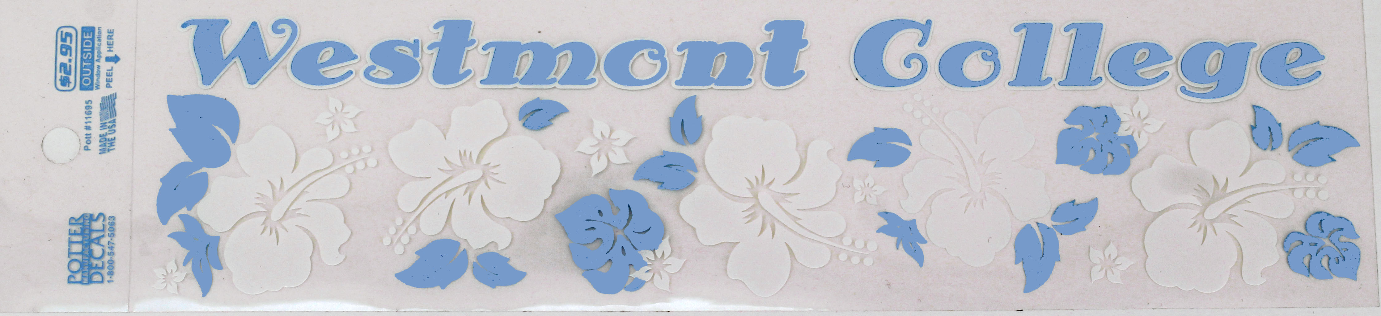 Image for the Potter's Westmont College Blue/White Flower Decal product