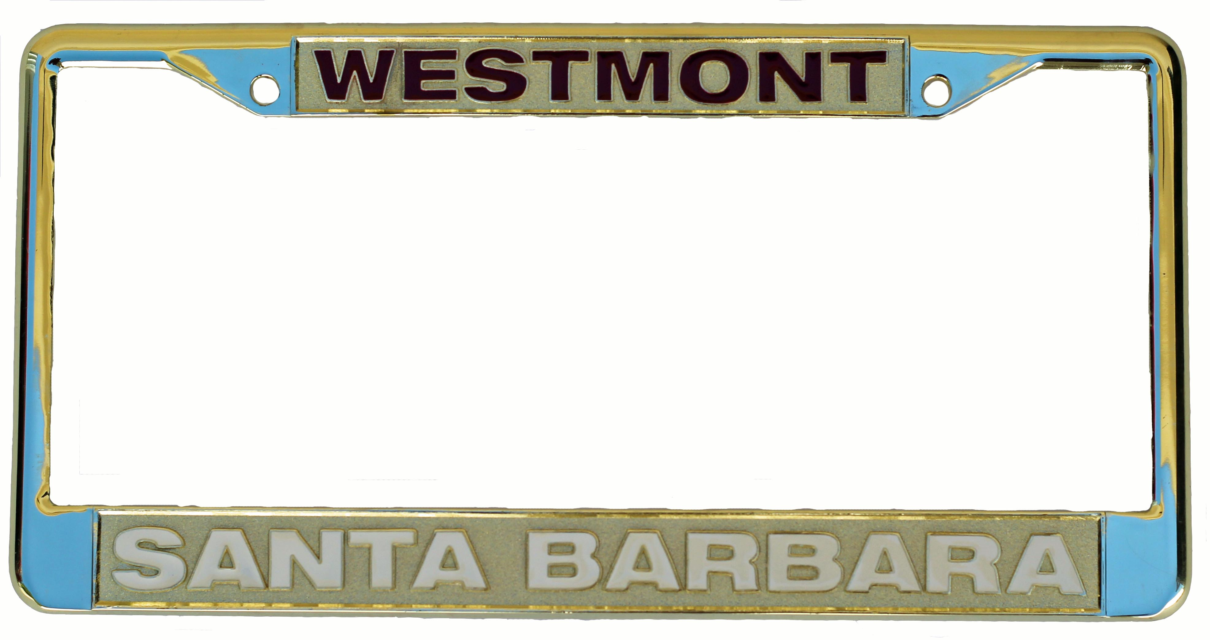 Image for the Gold Westmont Santa Barbara License Plate Frame product