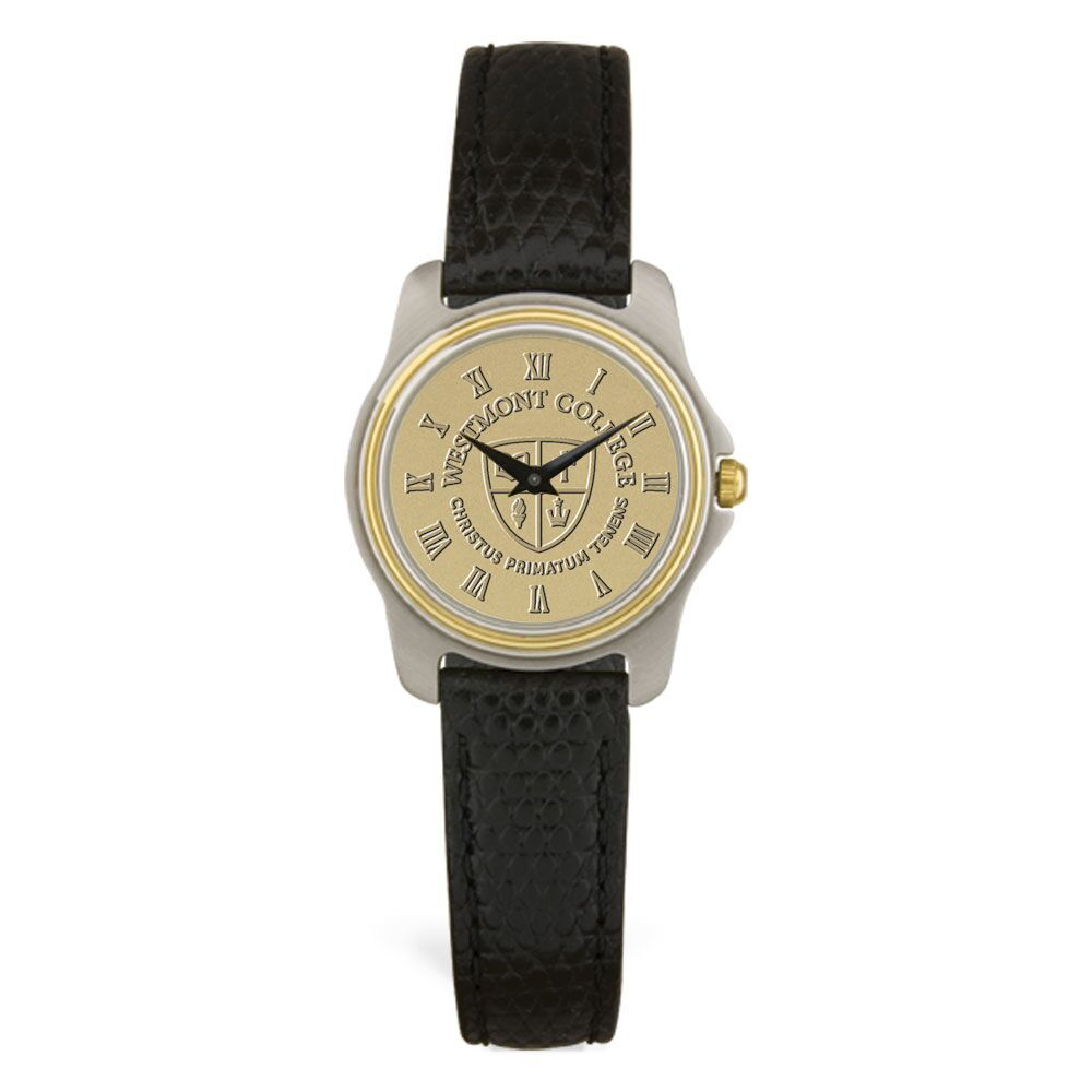 Image for the CSI 39-S Ladies Silver Wristwatch with Black Leather Band product