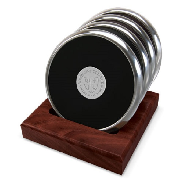 Image for the CSI 15C/S-S Silver Coaster Set of 4 w/rosewood stand product
