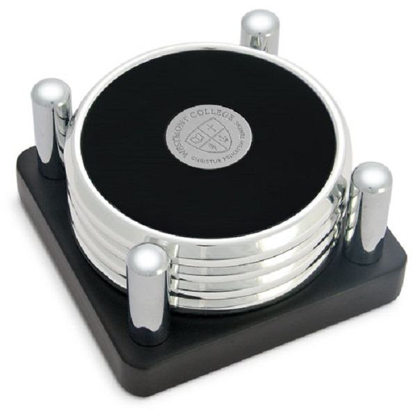 Image for the CSI 17Q/S-S Silver Coaster Set of 4 w/metal stand product